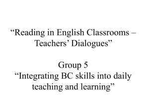 """Reading in English Classrooms – Teachers' Dialogues"" Group 5"