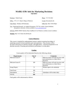 MARK 4338: Info for Marketing Decisions Fall 2013