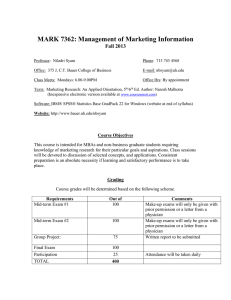 MARK 7362: Management of Marketing Information Fall 2013