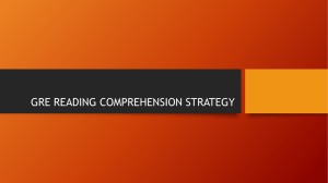 GRE READING COMPREHENSION STRATEGY