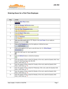 Entering Hours for a Part-Time Employee