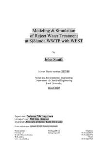 Modeling & Simulation of Reject Water Treatment at Sjölunda WWTP with WEST