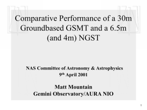 Comparative Performance of a 30m Groundbased GSMT and a 6.5m (and 4m) NGST