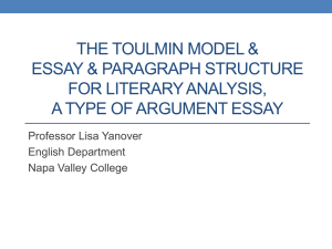 Watch the Toulmin Model and Essay Structure for Literary Analysis PowerPoint