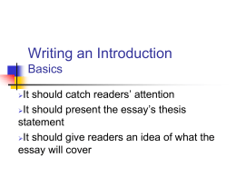 Writing an Introduction Basics