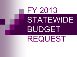 FY 2013 REQUEST STATEWIDE BUDGET