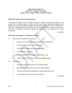 Regents Policy 09-01 Student Affairs; General Provisions
