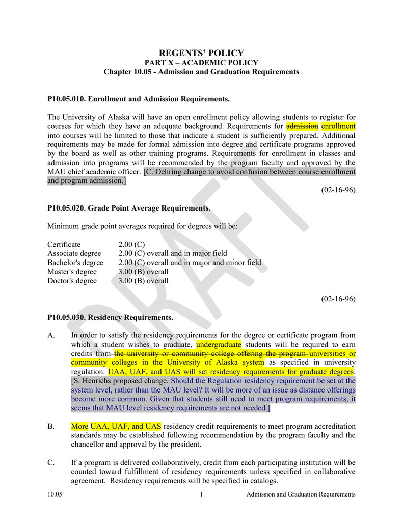 Regents Policy 10-05 Admission and Graduation Requirements - policy