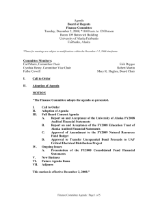Agenda Tuesday, December 2, 2008; *10:00 a.m. to 12:00 noon