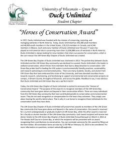 "Ducks Unlimited ""Heroes of Conservation Award"" University of Wisconsin – Green Bay"