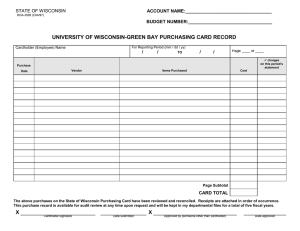UNIVERSITY OF WISCONSIN-GREEN BAY PURCHASING CARD RECORD STATE OF WISCONSIN ACCOUNT NAME:__________________________________
