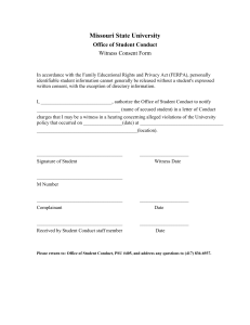 Missouri State University Office of Student Conduct Witness Consent Form