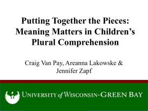 Putting Together the Pieces: Meaning Matters in Children s Plural Comprehension