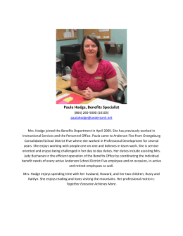 Paula Hodge, Benefits Specialist