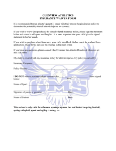 GLENVIEW ATHLETICS INSURANCE WAIVER FORM