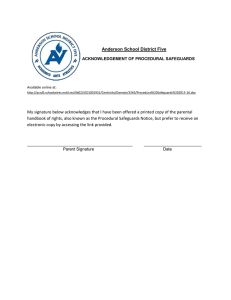 Anderson School District Five  ACKNOWLEDGEMENT OF PROCEDURAL SAFEGUARDS Available online at: