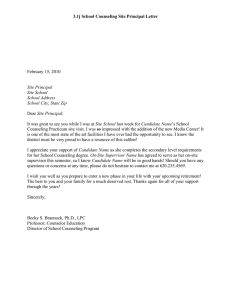 3.1j School Counseling Site Principal Letter  February 15, 2010 Site Principal