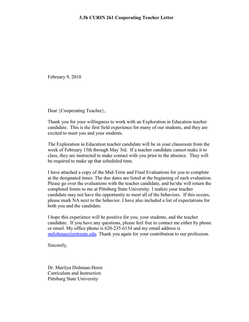 CURIN 261 Cooperating Teacher Letter