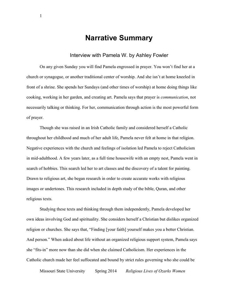 Narrative Summary Interview with Pamela W  by Ashley Fowler