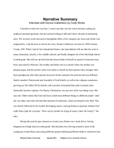 Narrative Summary Interview with Donna Culbertson by Cody Works