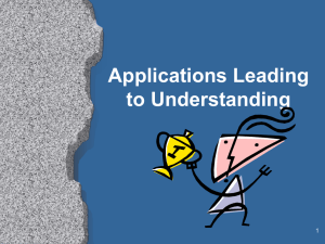 Applications Leading to Understanding 1