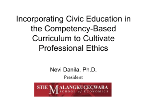 Title: Incorporating Civic Education in the Competency-Based Curriculum to Cultivate Professional Ethics