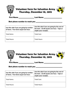 Volunteer form for Salvation Army Thursday, December 10, 2015