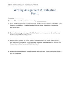 Writing Assignment 2 Evaluation Part 1