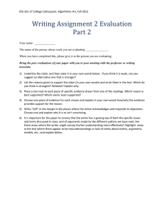 Writing Assignment 2 Evaluation Part 2
