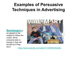 Examples of Persuasive Techniques in Advertising Bandwagon
