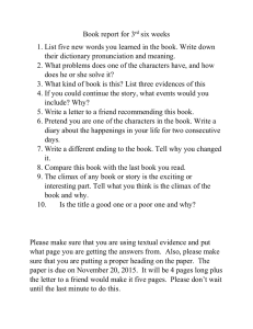 Book report for 3rd six weeks