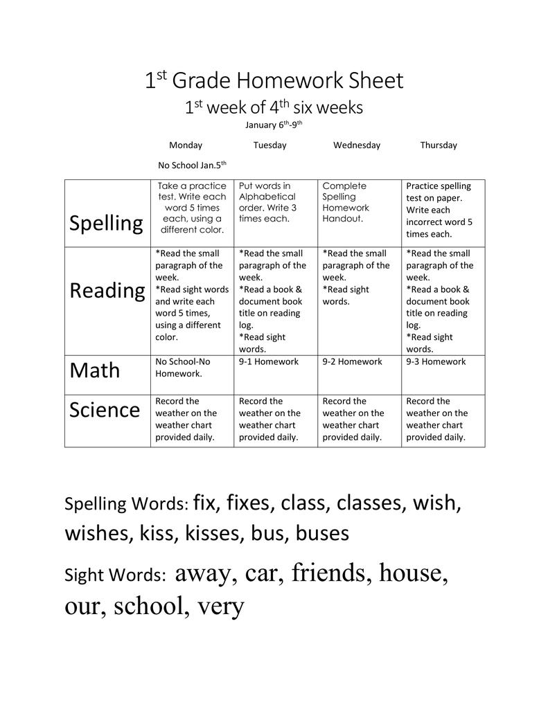 1st Grade Homework 4th six weeks- week 1