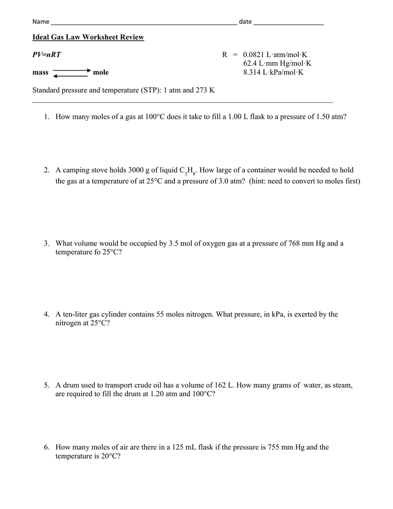 Ideal Gas Laws Worksheet – Ideal Gas Law Worksheet