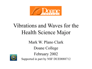 Vibrations and Waves for the Health Science Major Mark W. Plano Clark