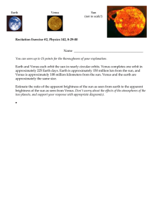 Recitation Exercise #2, Physics 142, 8-29-00 Earth Venus Sun