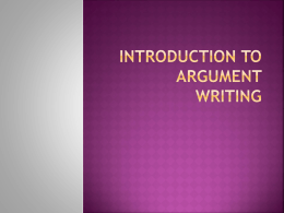Argument Writing Project