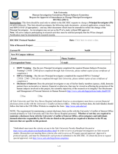 Request to Change Principal Investigator Form