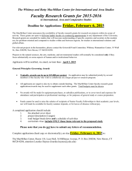 Faculty Research Grants for 2015-2016 Friday, February 6, 2015