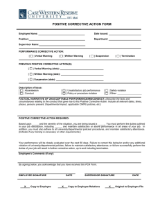 POSITIVE CORRECTIVE ACTION FORM