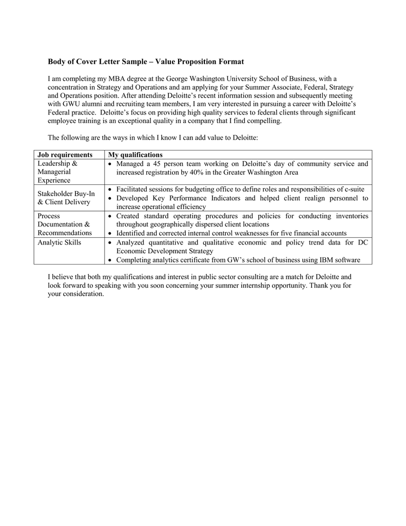 value proposition style cover letter sample - Deloitte Cover Letter