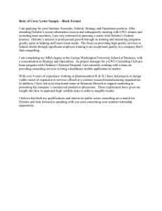 Deloitte Report Cover Letter / Introduction November 19, 2009