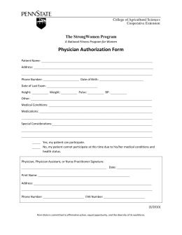 Physician Authorization Form  The StrongWomen Program