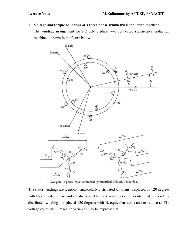 Voltage And Torque Equation Of Three Phase Symmentrical Induction 3 Winding Diagram Machines