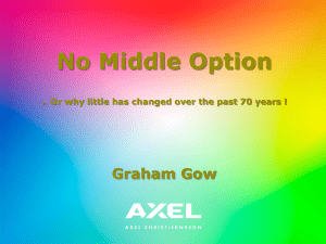 No Middle Option...or why little has changed over the past 70 years