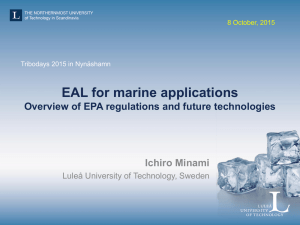 EAL for marine applications - Overview of EPA regulations and future technologies