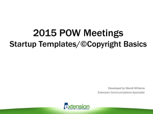 Startup Templates Copyright Basics (a 2015 POW Meeting Presentation by Wendi Williams)