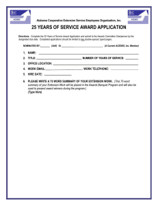25 YEARS OF SERVICE AWARD APPLICATION