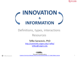 INNOVATION INFORMATION Definitions, types, interactions Resources