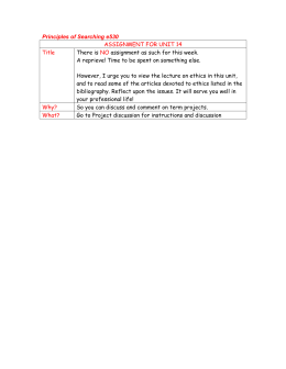 Principles of Searching e530 ASSIGNMENT FOR UNIT 14 Title NO