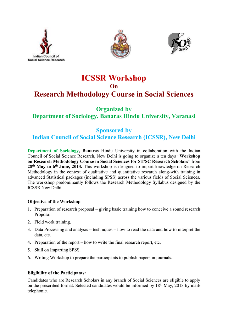 Workshop on Research Methodology Course in Social Sciences for ST/SC